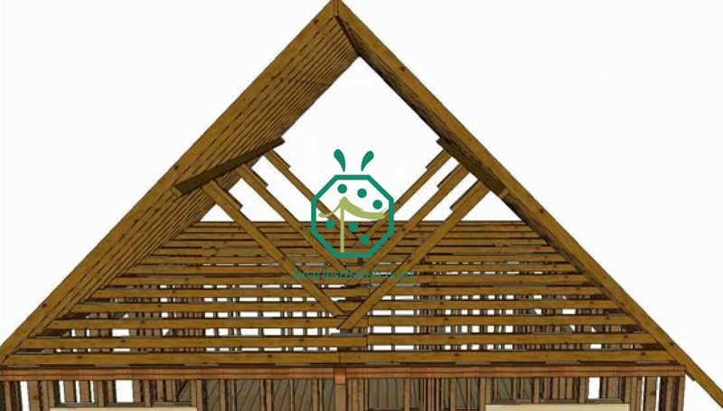 Wooden Purlin and Rafter as sub-roof for synthetic thatch roofing construction