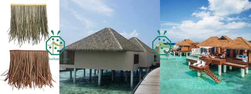 synthetic straw thatch for beach resort overwater bungalows