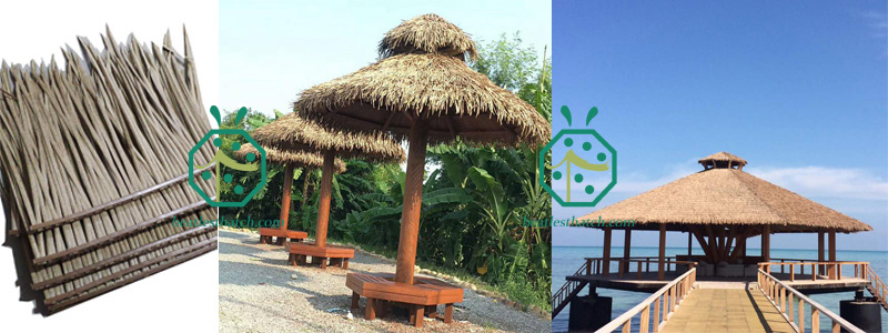 Synthetic banana leaf thatch for waterfront park landscape design