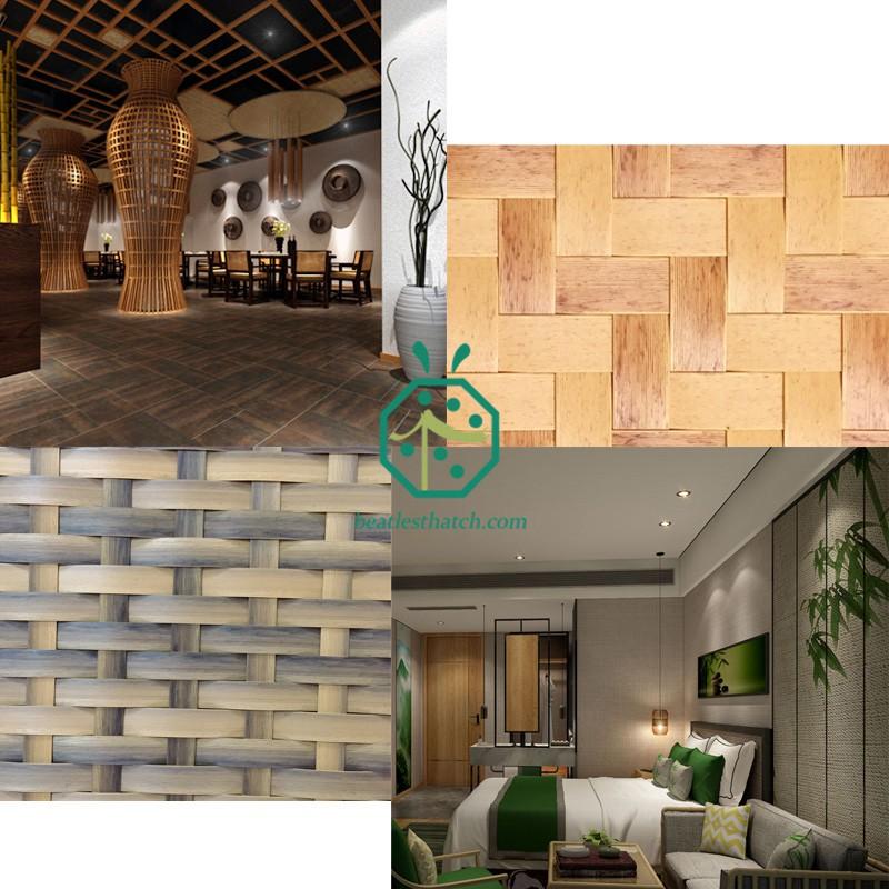 Bamboo woven wall covering for hotel lobby and room