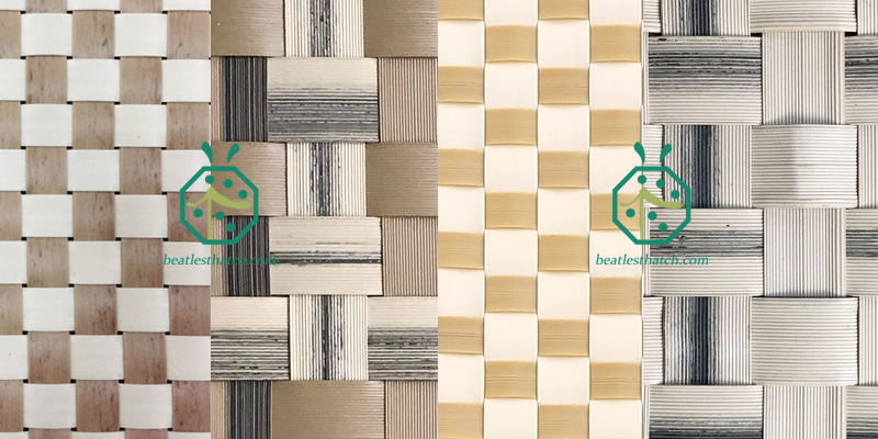 Some artificial lauhala woven wall matting designs for waterfront resort hotel interior decoration