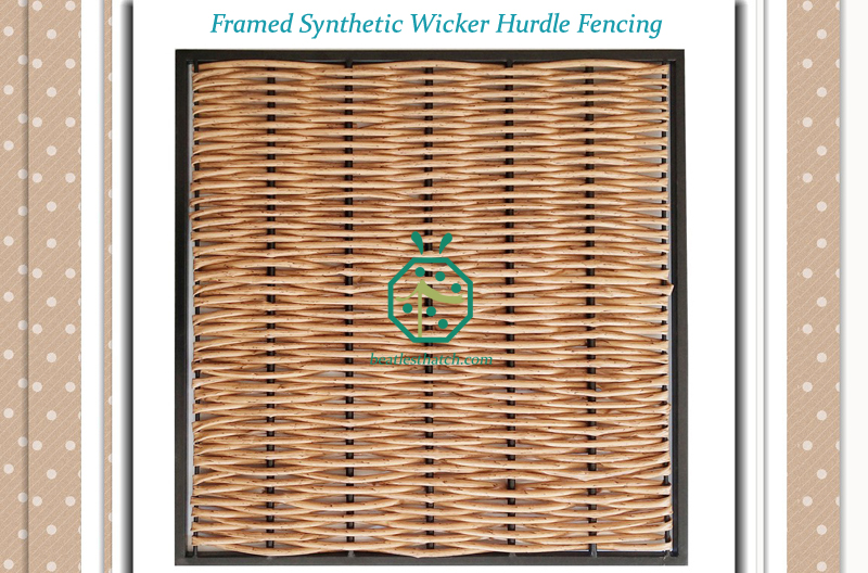 Framed plastic wicker willow hurdle fencing