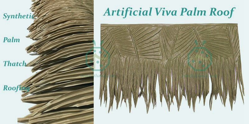 synthetic palm thatch roofing for tiki hut building