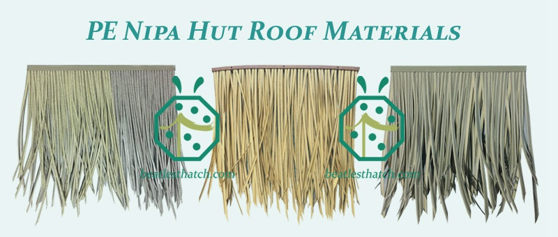 synthetic PE leaf thatch for cottage roof covering