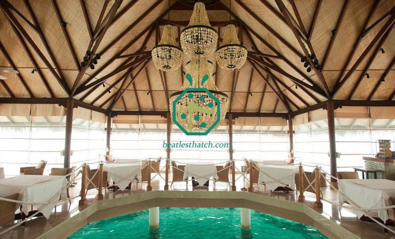 Synthetic Bamboo Weaving Mat For Resort Bungalow Ceiling Decoration