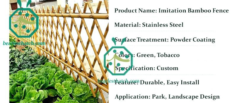 Some parameters of stainless steel simulated garden bamboo fence