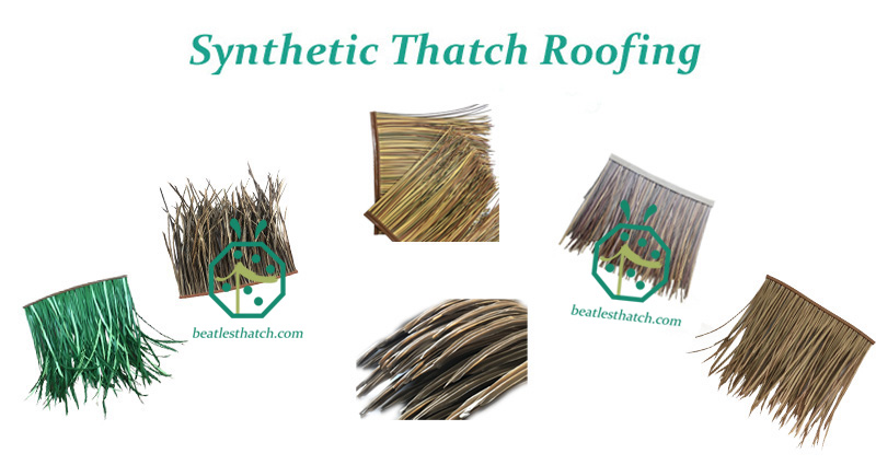 Artificial thatch roof tiles from China for resort hotel and backyard patio construction