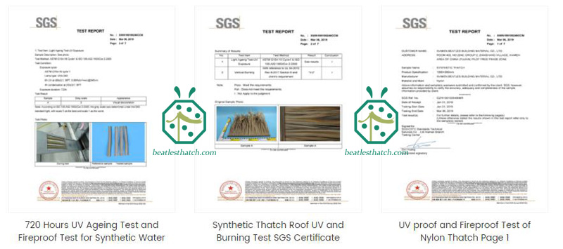 UV retardant test report of patio nylon thatched roof