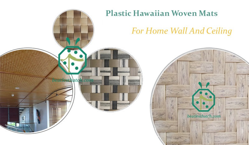 Artificial Hawaiian or Fijian woven mat designs for home wall and ceiling decoration lining