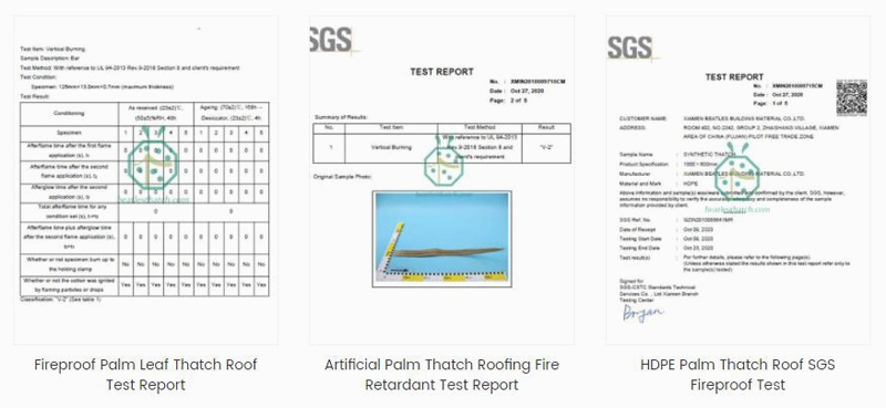 Fire retardant test report for synthetic palm roof