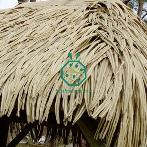 Synthetic palm thatch sunshade roof