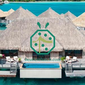 Beach Resort Overwater Bungalow Plastic Thatched Roof