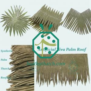 Faux palm roofing materials for beach bungalow decoration