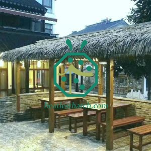 Synthetic tiki bar thatch roof covering