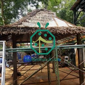 Easy Installation DIY Synthetic Thatch Roof For Wooden Lodge Construction