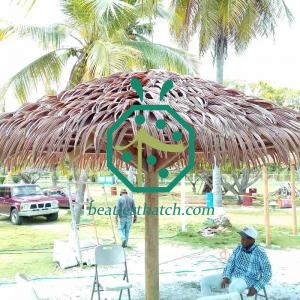 Windproof UV proof Artificial Thatch Roof Material Supplier For Jamaica Resort Hotel Palapa Roof Construction