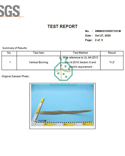 Artificial Palm Thatch Roofing Fire Retardant Test Report