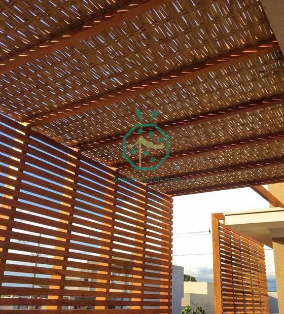 July Shipment Of Synthetic Wicker Woven Ceiling Panel For Singapore