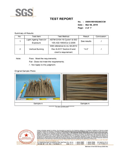 Synthetic Thatch Roof UV and Burning Test SGS Certificate
