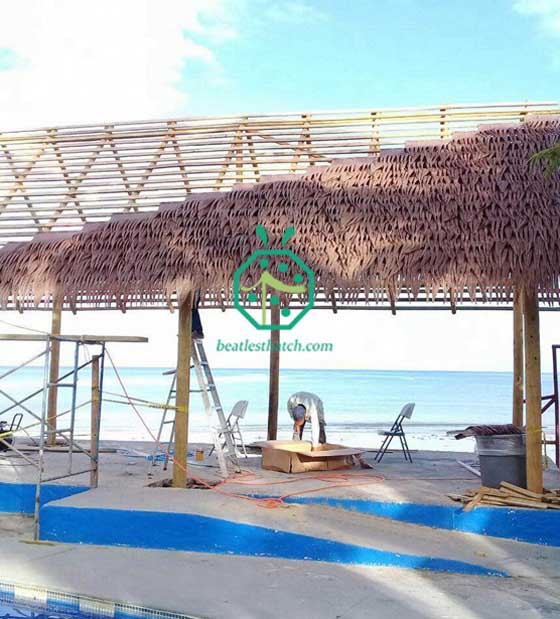 Synthetic Palm Thatch Roofing for Panama Beach Swimming Pool